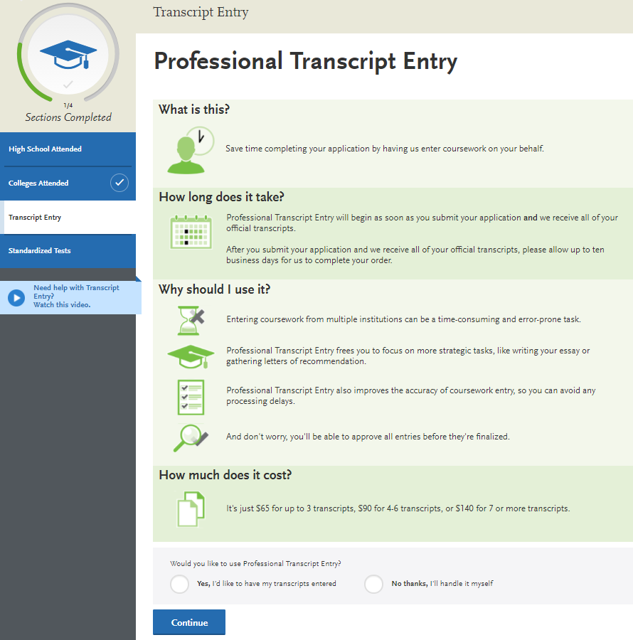 Professional Transcript Entry | NursingCAS